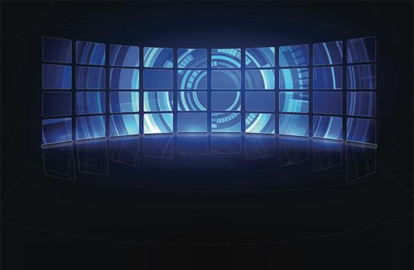 A bank of monitors displaying abstract image